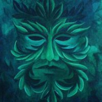 Green Man painting - Celtic art by Helen Frost Rich