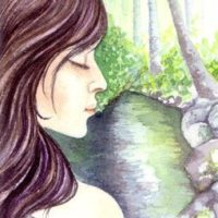 The Wishing Pool - Faerie Art - watercolour painting of a faerie wishing pool