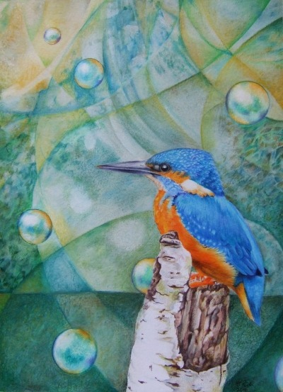 Fisher King - A kingfisher painting by Helen Frost Rich
