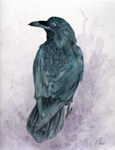 Watching the raven painting by Helen Frost Rich