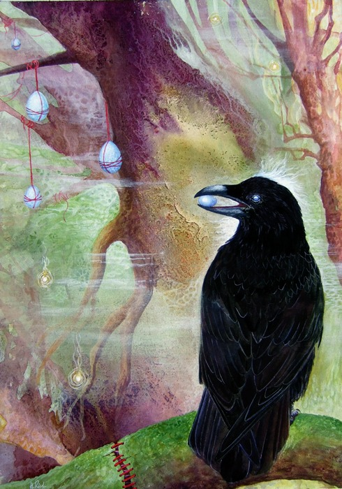 When Ravens Dream painting in acrylic ink and watercolour, by ?Helen Frost Rich