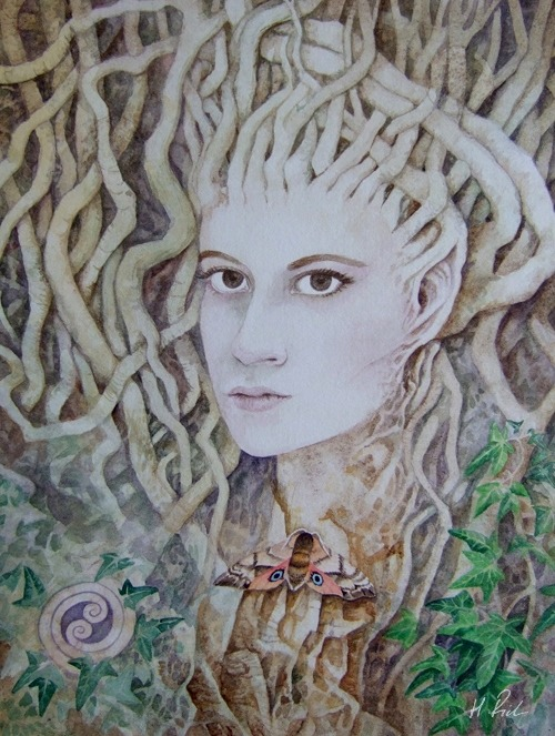 A dryad in the deepest forest - watercolour painting by Helen Frost Rich
