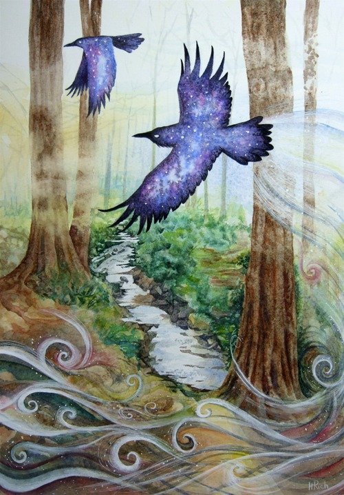 Watercolour of a cosmic raven silhouetted against a woodland scene by Helen Frost Rich