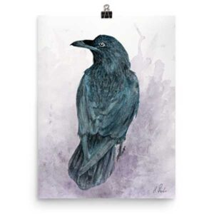 Watching The Raven, Watching Me Art Print by Helen Frost Rich